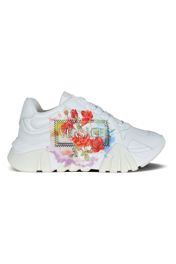 Women's luxury sneakers - Versace Squalo sneakers in white leather multicolored details