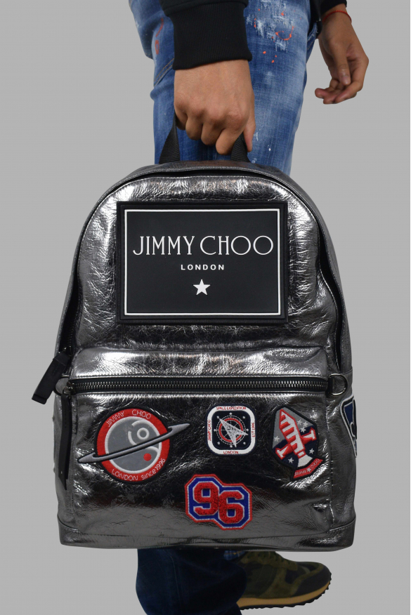 Luxury backpack - Jimmy Choo backpack in silver leather