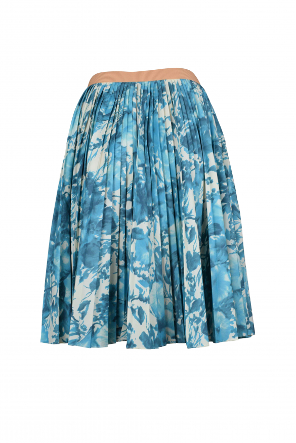 Luxury skirt for women - Antonio Marras pleated skirt with blue and white patterns