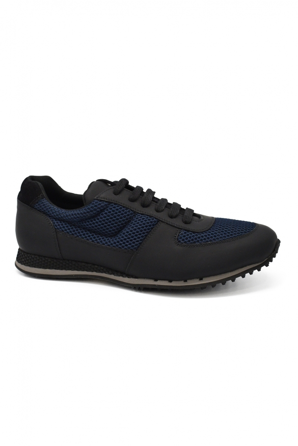 Luxury sneakers for men - Car Shoe sneakers in black leather and blue fabric