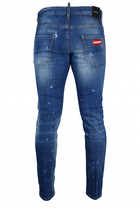 Men's luxury jeans - Dsquared2 blue Cool Guy Jean with red logo on the back