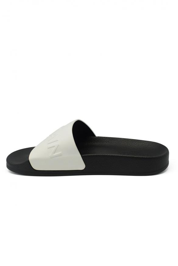 Luxury shoes for men - Balmain flip flops in white leather