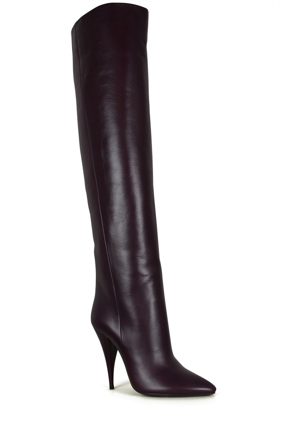 Luxury shoes for women - Saint Laurent Kiki thigh-high in burgundy leather