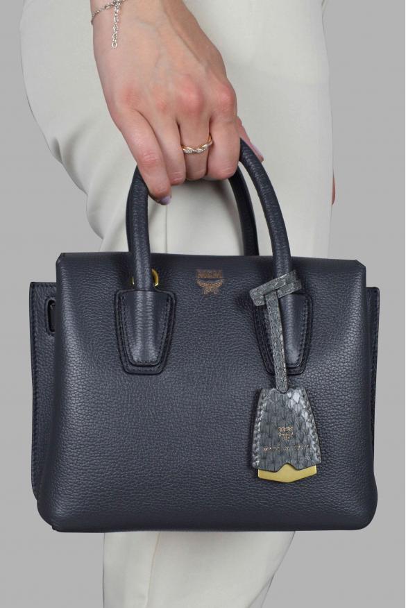 Luxury handbag - Milla MCM mini handbag in gray leather