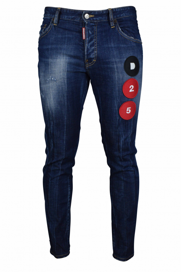 Men's jeans - Dsquared2 dark blue faded skater jeans with black and red patches