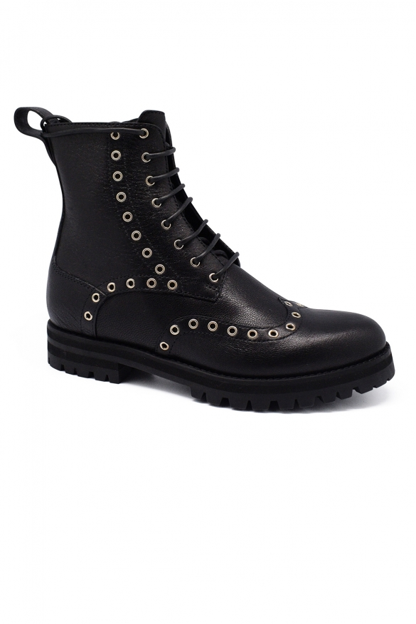 Luxury shoes for women - Jimmy Choo Hannah black boots with gold studs