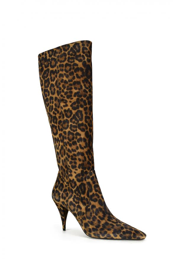 Luxury shoes for women - Saint Laurent Kiki boots in leopard pattern