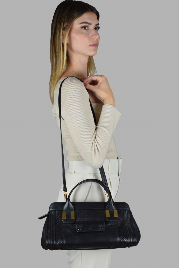 Luxury bag - Alice Chloé mini bag in black leather and python.