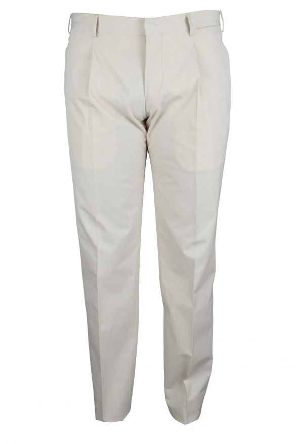 Luxury trousers for men - Prada beige trousers with fabric insert