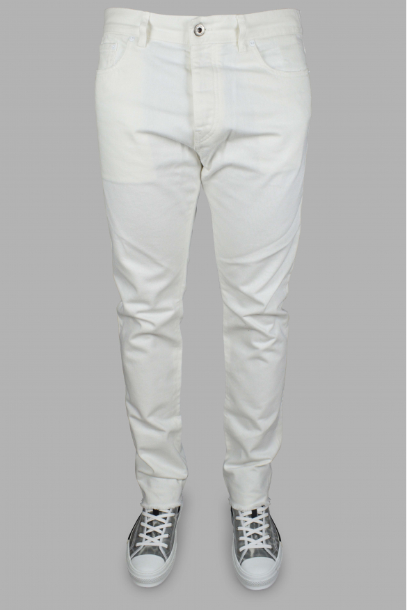 Luxury jeans for men - Valentino white jeans with white patch