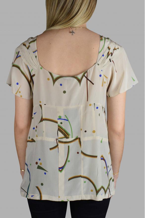 Women's luxury t-shirt - Prada beige silk top