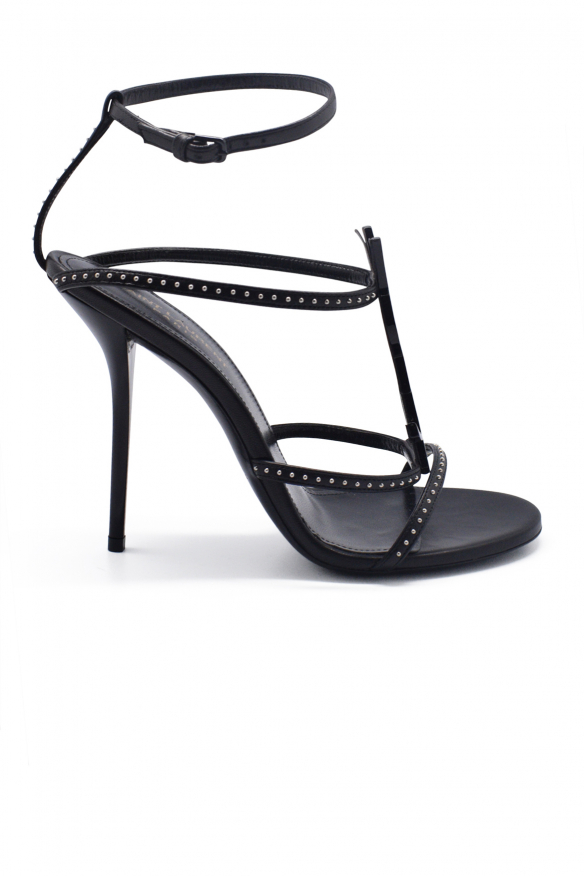Women's luxury heeled sandals - Saint Laurent Cassandra heeled sandals in black leather