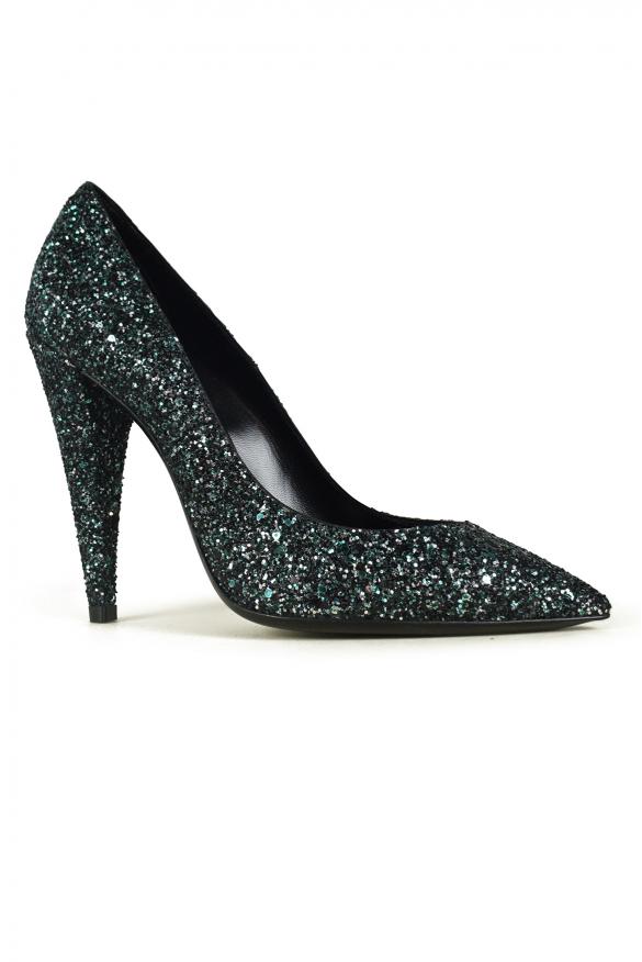 Women's luxury pumps - Saint Laurent Era model pumps in green glitter