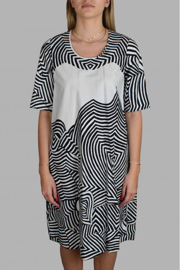 Luxury dress for women - Antonio Marras white dress with black patterns