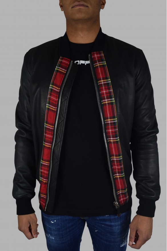 Men's designer jacket - Philipp Plein Bomber jacket Scottish-style fabric pattern