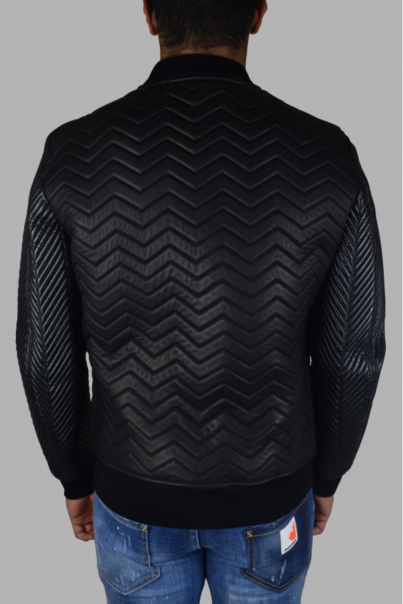 Men's luxury jacket - Philipp Plein bomber in black quilted leather
