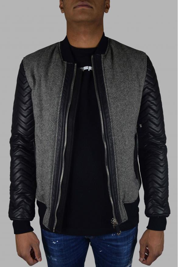 Men designer jacket - Philipp Plein Bomber jacket gray and black