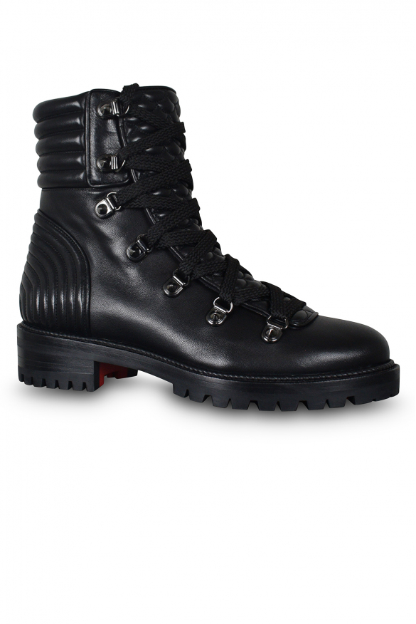 Women's luxury boots - Louboutin Mad Boots in black leather