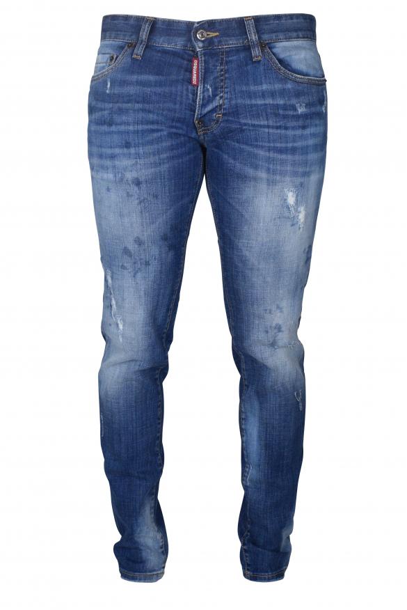 Men's designer jeans - Dsquared2 blue Slim faded Jean red details