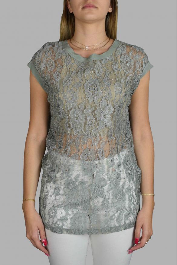 Women's luxury t-shirt - Dolce & Gabbana green lace top