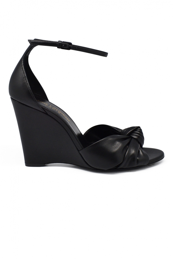Luxury shoes for women - Saint Laurent Bianca in black leather sandals with knot