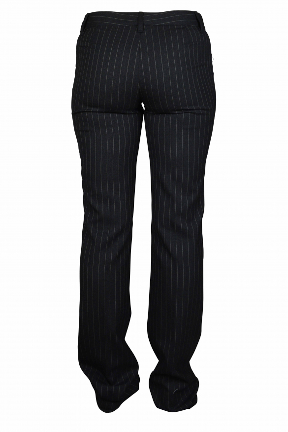 Luxury trousers for women - Dolce & Gabbana gray striped trousers