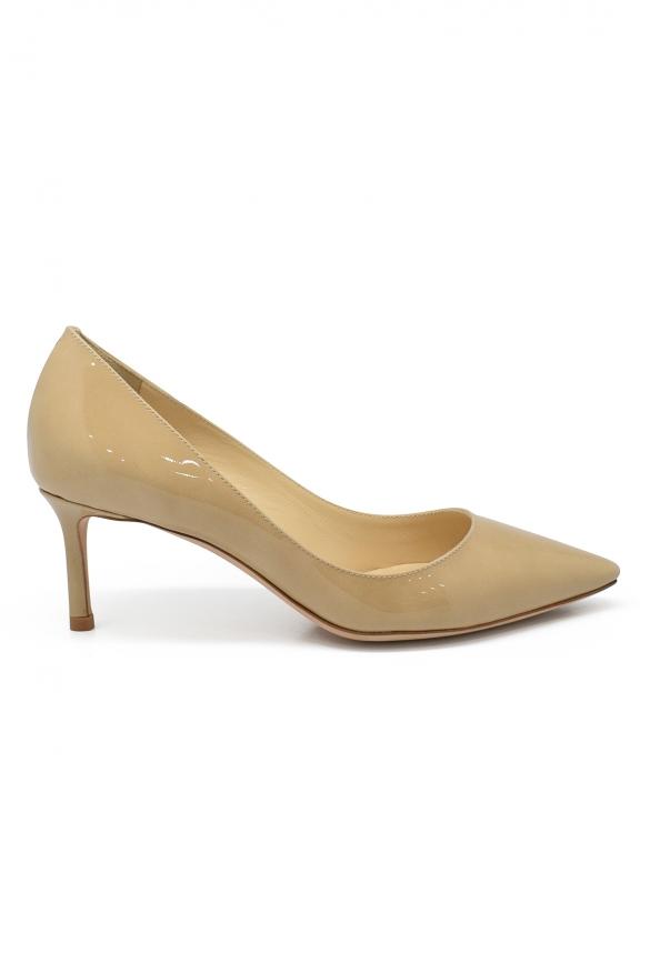 Women luxury shoes - Jimmy Choo Romy 60 beige varnished leather pumps
