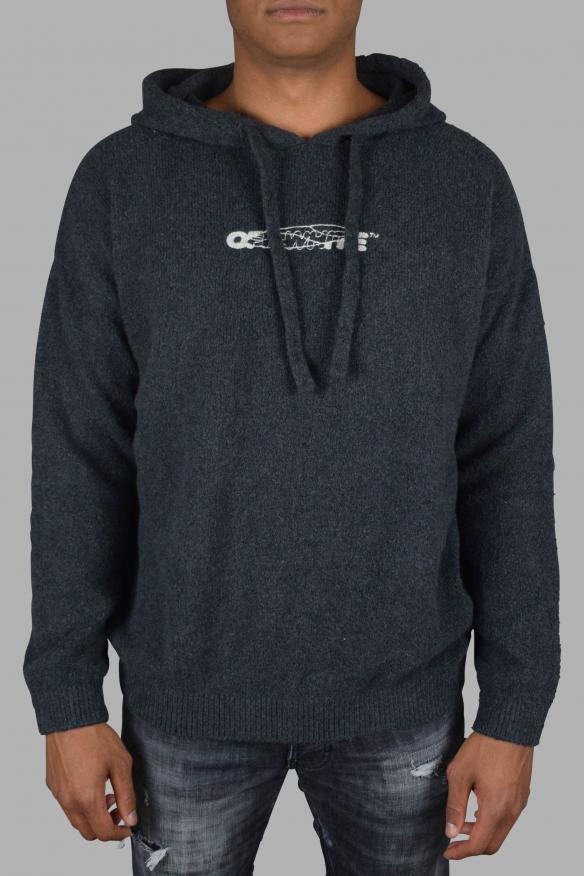 Men's luxury sweatshirt - Off-White embroidered gray hoodie