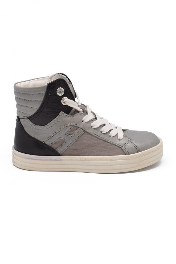 Luxury sneakers for kids - Hogan high black and grey sneakers