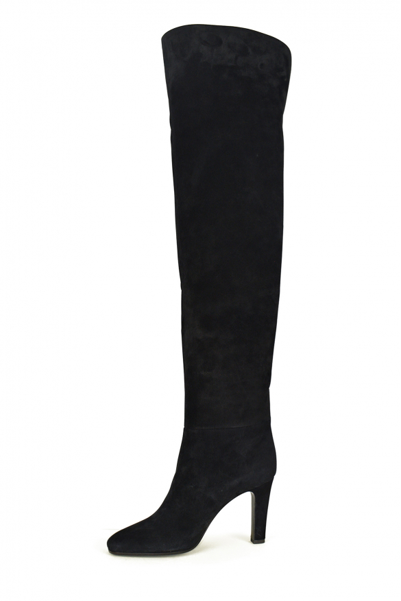 Women's luxury thigh-high boots - Saint Laurent model Jane thigh-high boots in black suede and suede heel