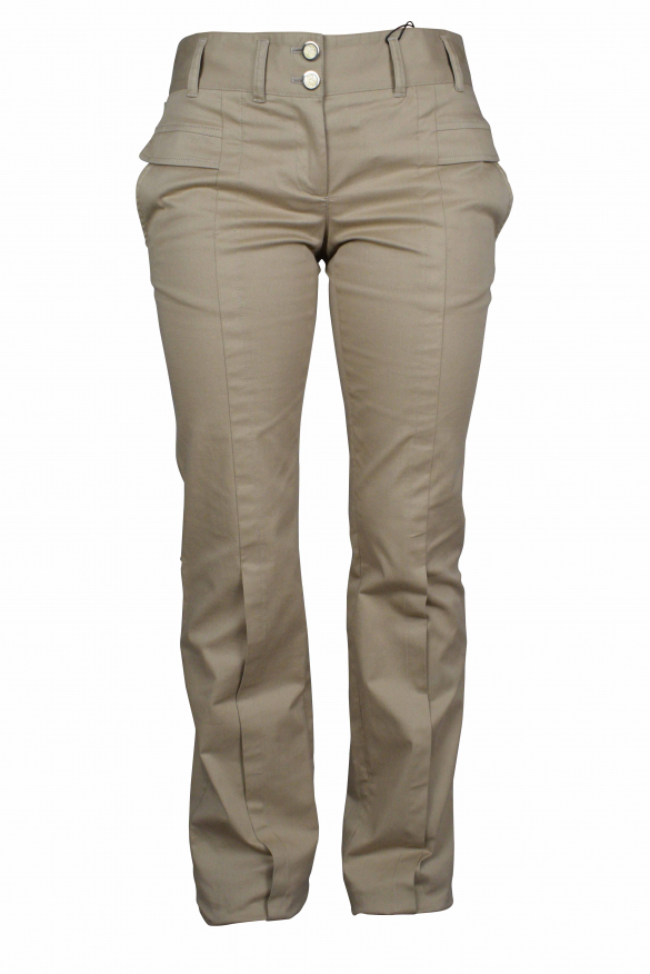 Luxury trousers for women - Dolce & Gabbana brown trousers with gold buttons