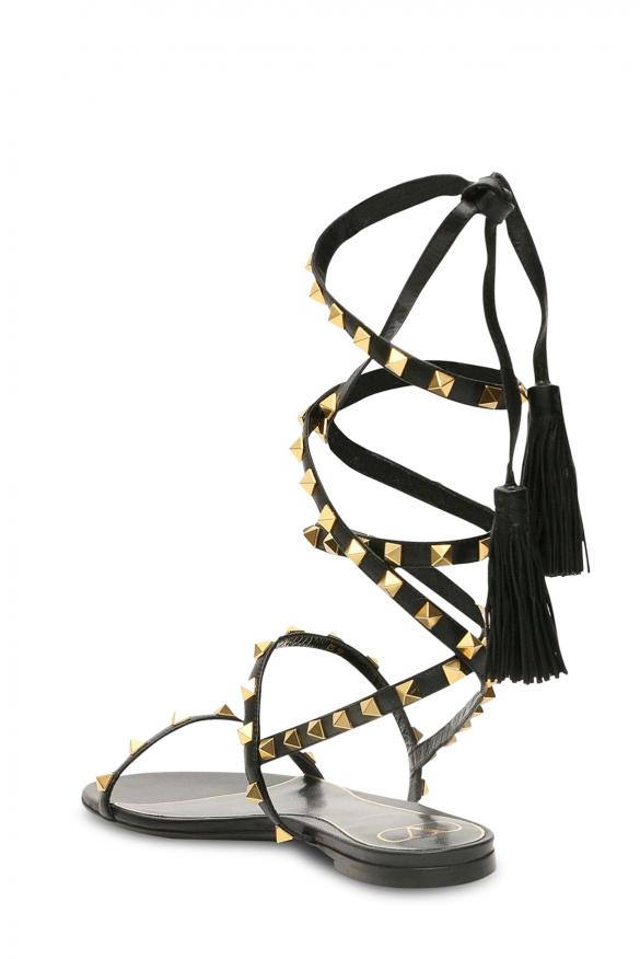 Women's luxury sandals - Valentino Garavani flat sandals in black leather