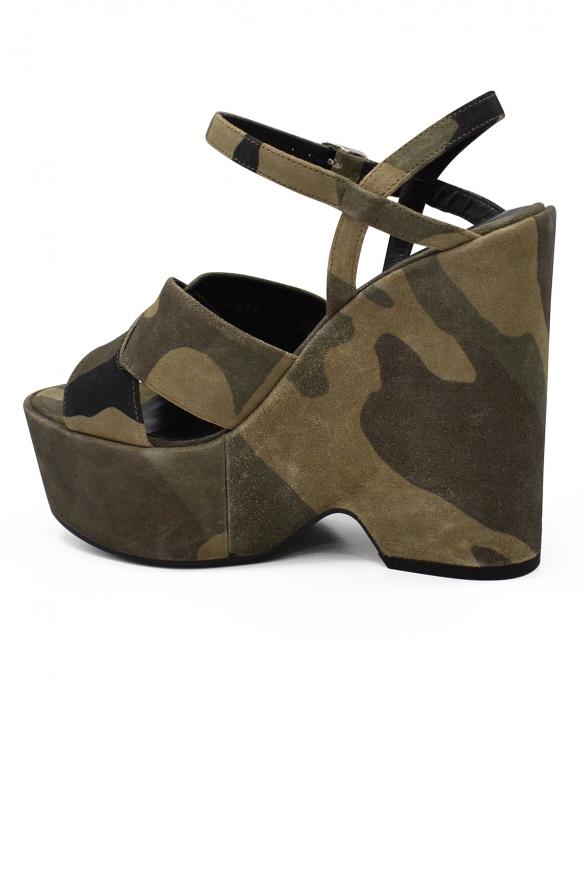 Luxury shoes for women - Saint Laurent camouflage sandals kaki suede