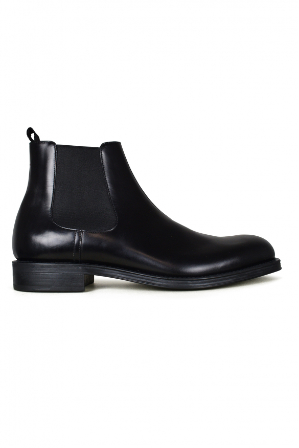 Men's luxury ankle boots - Prada black leather ankle boots with triangle details