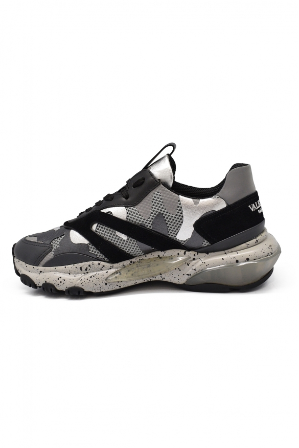 Men luxury sneakers - Valentino Bounce Camouflage silver sneakers