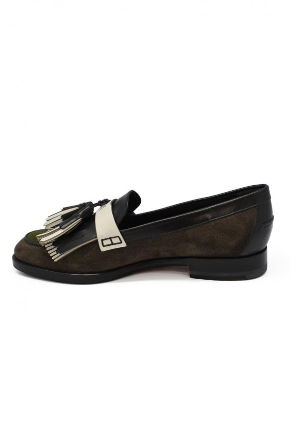 Luxury shoes for women - Santoni loafers in grey and green suede