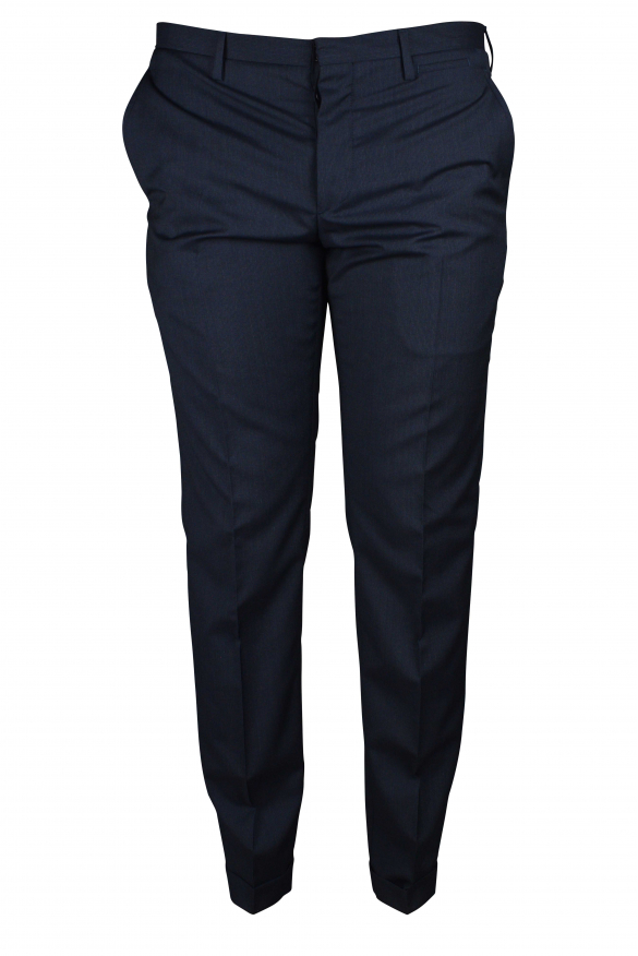 Luxury trousers for men - Prada blue trousers with hems