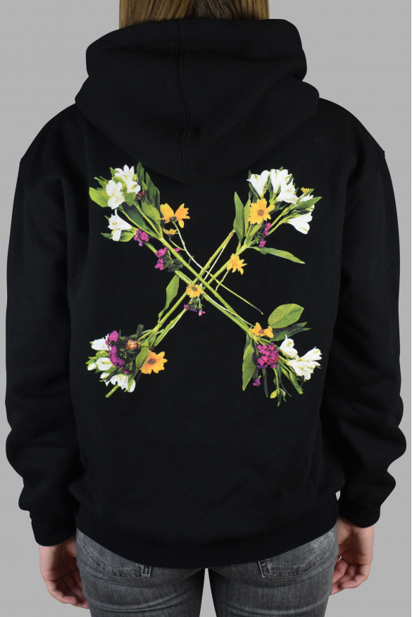 Luxury sweatshirt for women - Off-White black sweatshirt with floral cross
