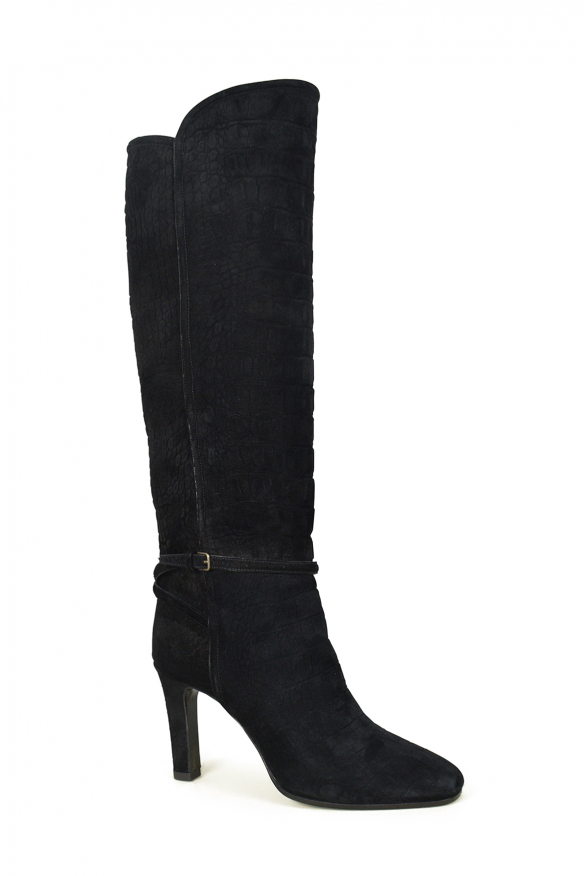 Women's luxury boots - Saint Laurent model Jane 90 boots in black crocodile-embossed suede