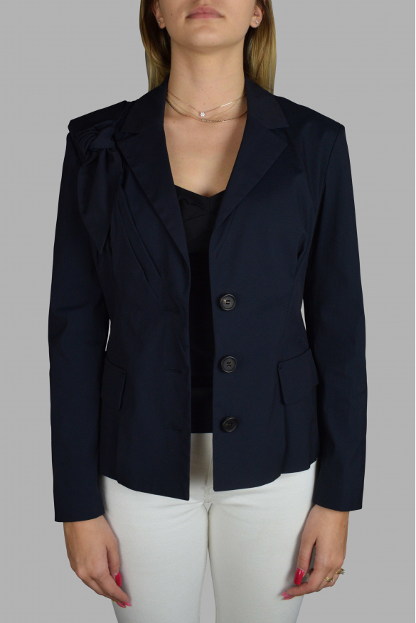 Women's luxury jacket - Prada blue jacket with a bow on the shoulder