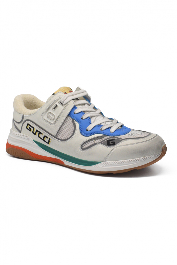 Men's luxury sneakers - Gucci white Ultrapace sneakers