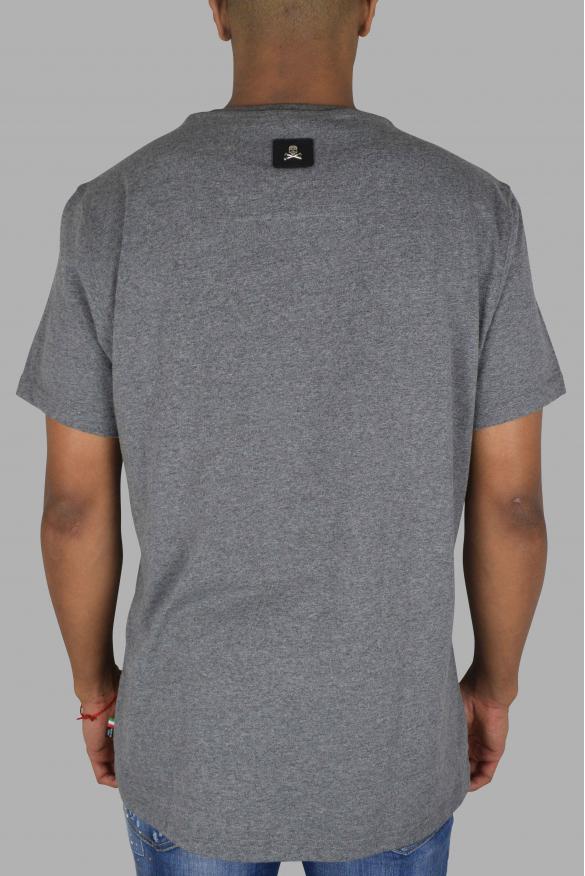 Men's designer t-shirt - Philipp Plein Handmade  Skull  grey t-shirt