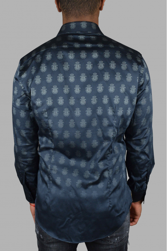 Luxury shirt for men - Billionaire black shirt with insignia pattern