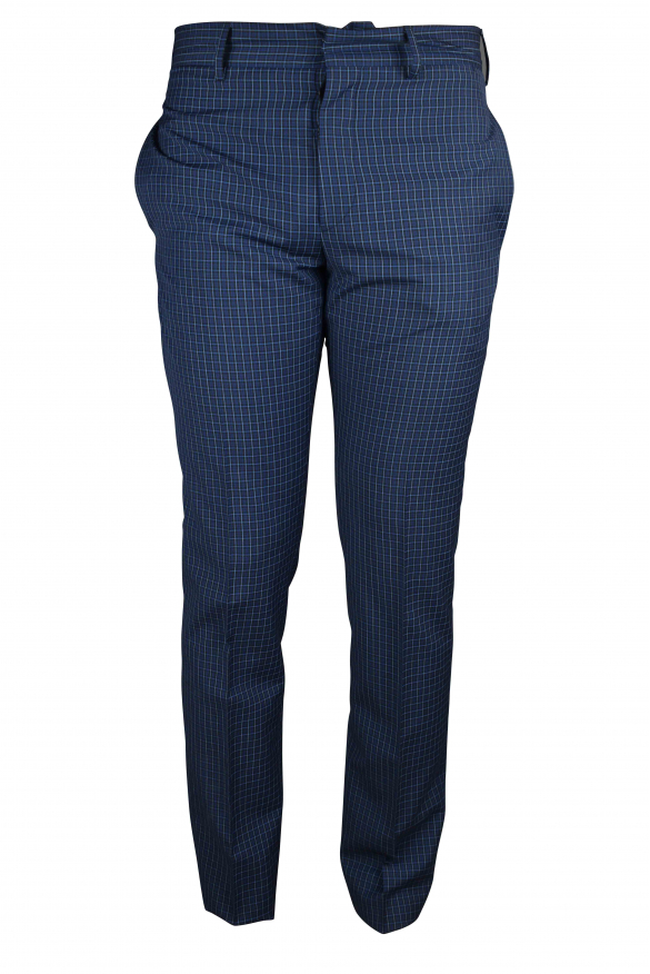 Luxury trousers for men - Prada blue trousers with small checks