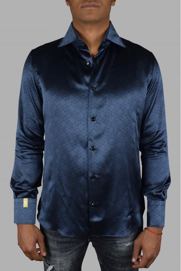 Luxury shirt for men - Flavio Lion Billionaire navy silk shirt