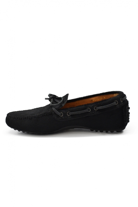 Luxury shoes for men - Car Shoe by Prada driving shoes in black foal