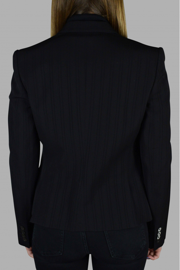 Women's luxury jacket - Dolce & Gabbana black blazer with tone-on-tone stripes
