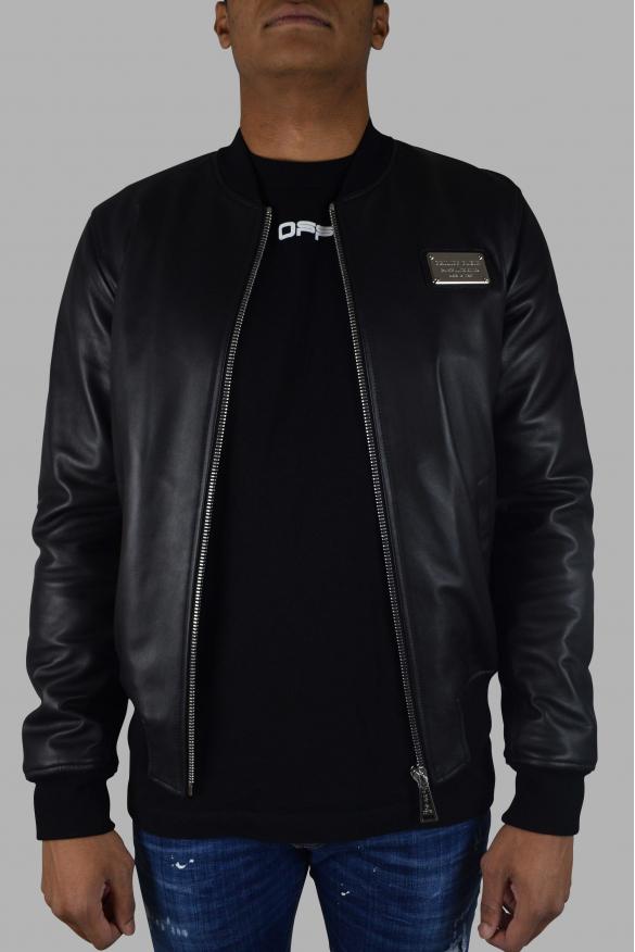 Men's designer jacket - Philipp Plein Bomber jacket in black leather quilted back