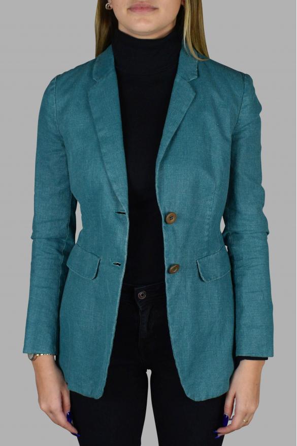 Women's luxury jacket - Prada turquoise linen jacket with belt