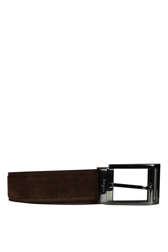 Men's luxury belt - Salvatore Ferragamo belt in brown suede
